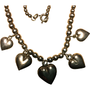 Pretty Sterling Silver Beaded Heart Charm Necklace