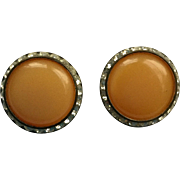 Vintage Butterscotch Signed Lisner Earrings Clip-ons