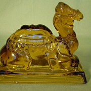 SALE PENDING Shriner Masonic Zenobia Amber Camel Candy Container
