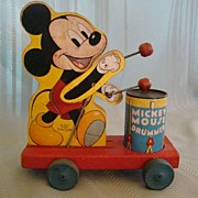 SALE Fisher Price Mickey Mouse Drummer Pull Toy #476