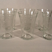 5 Vintage Etched Pepsi Glass Tumblers