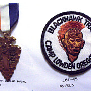 SALE PENDING Vintage Boy Scout Black Hawk Trail Medal & Patch -Camp Lowden