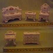 Vintage Porcelain China Miniature Living Room Suite/ Ring Boxes
