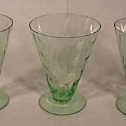 Rare Set of 3 Vintage Fostoria Green Optic Loop Footed Tumblers