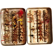 REDUCED Vintage Fly Box with over 50 Hand Tied Fishing Flies