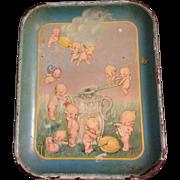 Rare Vintage Kewpie Tin Tray Kewpies Making Lemonade by Rose O'Neill