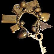 Fantastic Vintage Brass Charm Bracelet Princeton Skateboard Football Basketball Megaphone Hear