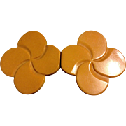 Vintage 2-Piece Butterscotch Bakelite Clover or Pinwheel Buckle