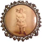 Great Celluloid Button Photograph Little Girl in Victorian Dress With Original Tin Frame ...