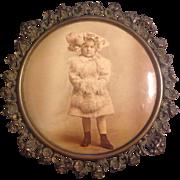 Great Celluloid Button Photograph Little Girl in Victorian Dress With Original Tin Frame Colum