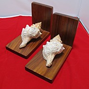 Wood & Sea Shell Bookends