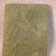 Chinese Celadon Jade Pendant Plaque