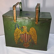 Lunch Bucket  pail   Painted Eagle Tin
