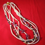 SOLD Chinese Cultured  Pearl  Amethyst  Necklace
