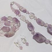 Amethyst Necklace Bracelet Earrings 3 pieces
