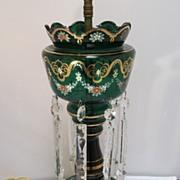 SALE PENDING Emerald Green Luster Lamp