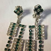 REDUCED Rhinestone Green & White Dangle Earrings