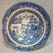 REDUCED Antique Staffordshire  Blue Willow Plate