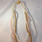 Seed Pearl & Rose Quartz Necklace