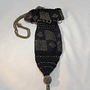 Crochet Beaded Marcasite  Bag