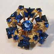 SALE Cobalt  Glass Gilt Brooch