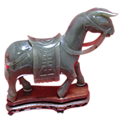 Chinese Carved Spinach Jade Donkey on Inlaid Stand