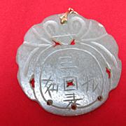 SALE Jade Pendant Buddhist Symbols Celadon
