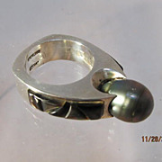SALE Black Pearl Ring Signed