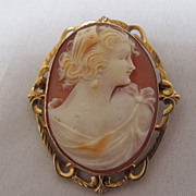 REDUCED 10 K gold Cameo Brooch