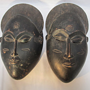 SALE Pair African Baule Wood Masks
