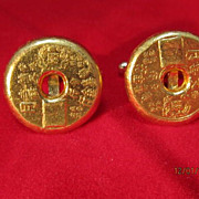 SALE Chinese Gold Cuff Links