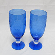 Two Cobalt Blue Cut Crystal Wine/Water Glasses