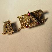 Kappa Delta Sigma 14 K Ruby Pearl Pin