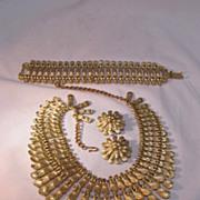 REDUCED BSK Necklace Bracelet Earring Set Gold Tone