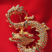 SOLD Chinese Style Dragon Brooch Gold Tone
