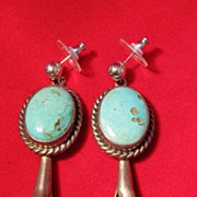 SOLD Vintage : Native American Style Squash Blossom Earrings