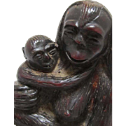 REDUCED Japanese Pottery Sculpture of Primate