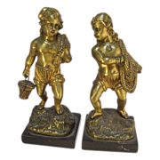 Antique Gilt Brass Fisherman Boys