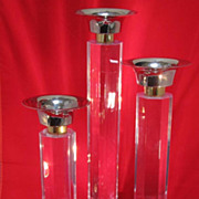 REDUCED Tall Set of Lucite Candlesticks