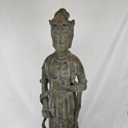 SALE Primitive Cast Iron Chinese Guanyin figure