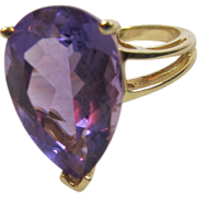 SALE Amethyst 10 K Gold Ring
