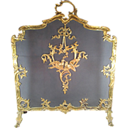 SOLD Antique Fire screen Gilt Bronze French Style