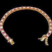 SALE Faux Ruby and Diamond Vermeil Bracelet