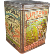 Large Old Lipton Tea Tin