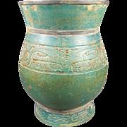 SOLD Engraved Green Glass Vase