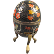 Enameled Brass Egg on Stand