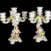 SALE Pair German Von Schierholz Porcelain Candelabra