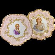 Pair  Limoges  Portrait Plates