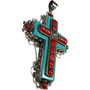REDUCED Fantastic Sterling Coral and Turquoise Cross Pendant