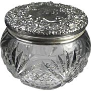 Antique American Sterling Crystal Dresser Jar Signed